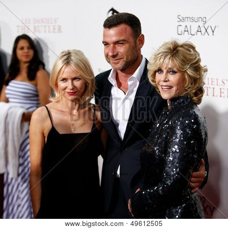 NEW YORK-AUG 5: Actors Naomi Watts, Liev Schreiber and Jane Fonda attend the premiere of Lee Daniels'
