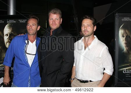 LOS ANGELES - AUG 14:  Luke Perry, Michael Cudlitz, Jason Priestley at the