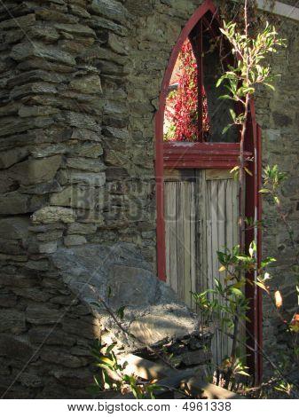 Old Red Door Frame
