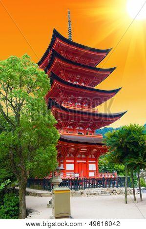 Five-storied pagoda  at Miyajima island, Japan - sunset
