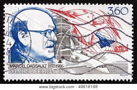 Postage Stamp France 1988 Marcel Dassault, Aircraft Designer
