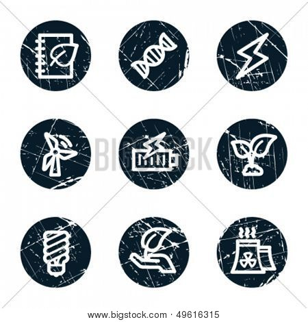 Ecology web icons set 5, grunge circle buttons