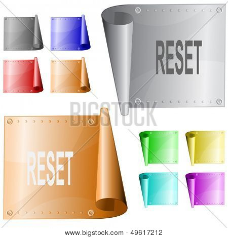 Reset. Metal surface. Raster illustration. Vector version is in my portfolio.