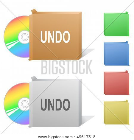 Undo. Box with compact disc. Raster illustration. Vector version is in my portfolio.