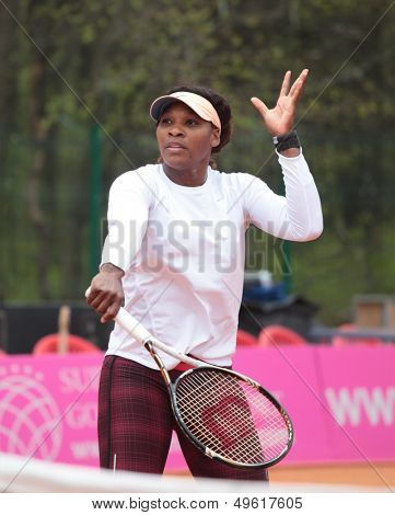 KHARKOV, UKRAINE - APRIL 20: Serena Williams on the court during training game on Fed Cup Tie between USA and Ukraine in Superior Golf & Spa Resort, Kharkov, Ukraine at April 20, 2012