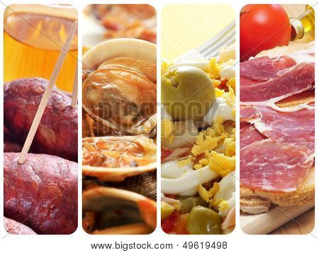a collage of four pictures of different spanish tapas and dishes, such as chorizos, almejas, stuffed eggs and jamon