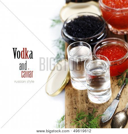 Vodka and caviar over white (with easy removable sample text)