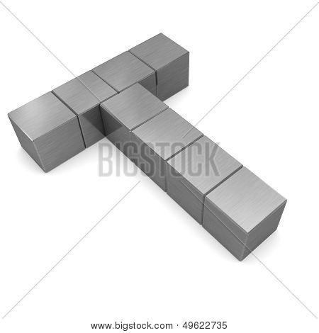 Letter T Cubic Metal