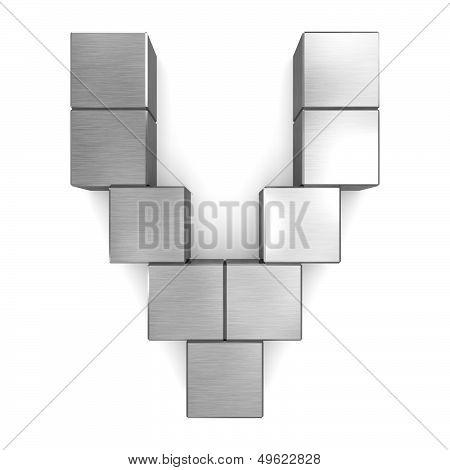Letter V Cubic Metal