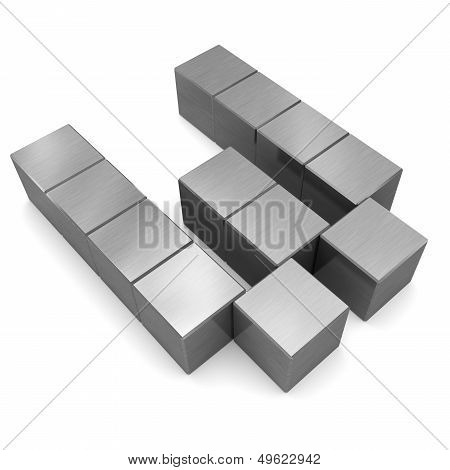 Letter W Cubic Metal