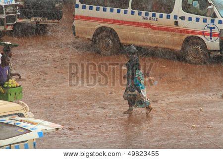 Rain Storm In Kampala Taxi Park