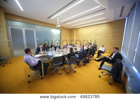 MOSCOW - DEC 20: Participants discuss on Business Breakfast at the office Rosbank on December 20, 2012 in Moscow Russia.