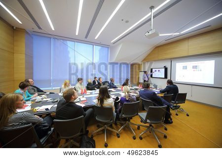 MOSCOW - DEC 20: Speaker and members in conference room on Business Breakfast at the office Rosbank on December 20, 2012 in Moscow Russia.
