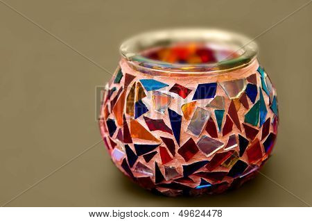 Handmade Artistic Ethnic Mosaic glass candle holder