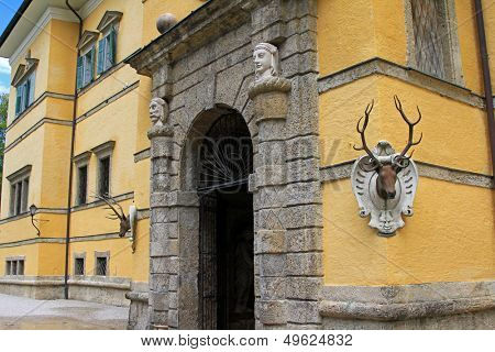SALZBURG, AUSTRIA - AUGUST 2012 : Tricky fountain hiding in a deer's antlers at Schloss Hellbrunn, a Waterpark at the Summer Palace on August 14, 2012 in Salzburg, Austria.