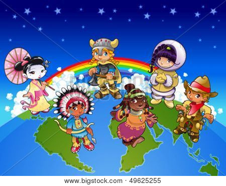 Kids from all over the world. Funny cartoon and vector illustration