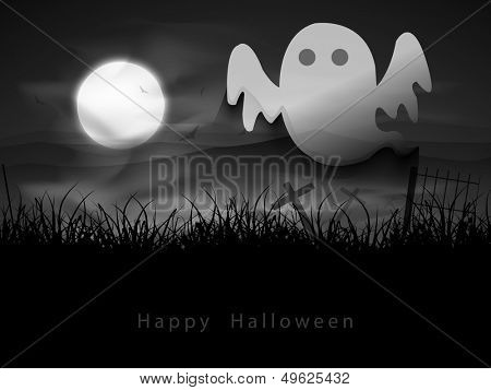 Flyer, poster or banner for Halloween Party Night background with classical character of ghost.