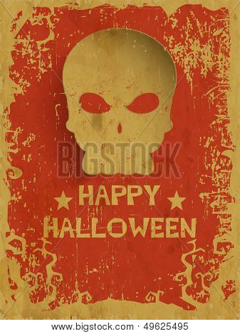 Flyer, poster or banner for Halloween Dance Party on grungy background with human skull.