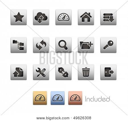 FTP & Hosting Icons // Metallic Series - It includes 4 color versions for each icon in different layers.