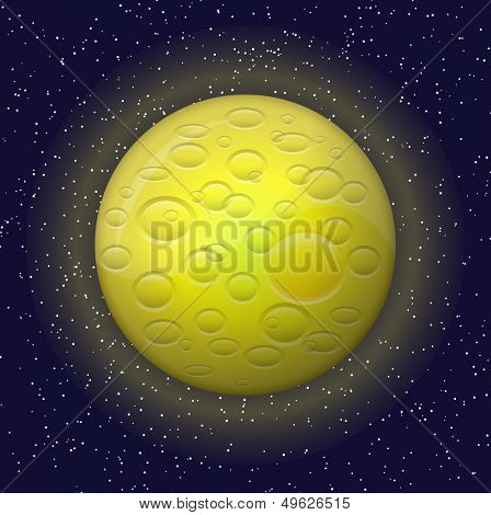 Yellow planet and constellations
