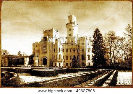 white chech castle  - picture in retro style