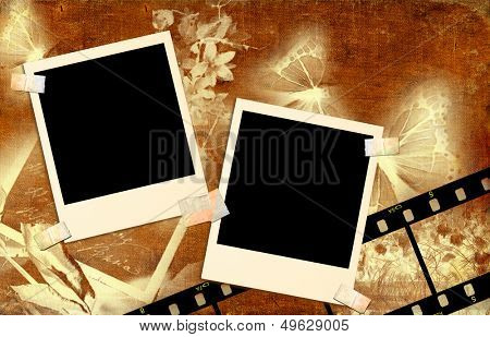 vintage background with  instant photo frames