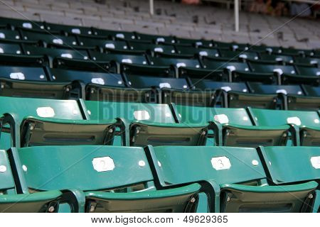 Rows of empty seats at sports arena