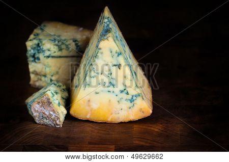 Stilton mature blue cheese - Dark background