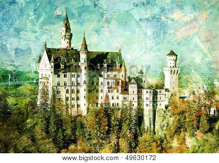 Neuschwanstein castle - picture in painting style