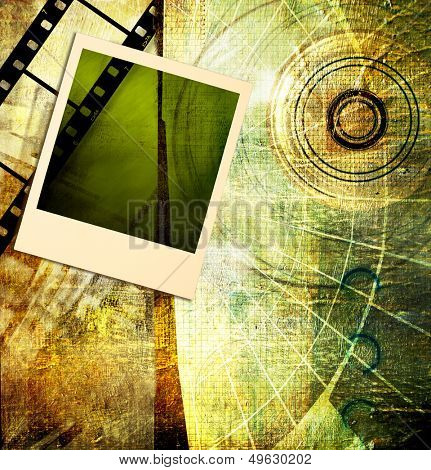 vintage artistic background with instant photo frame and film strip
