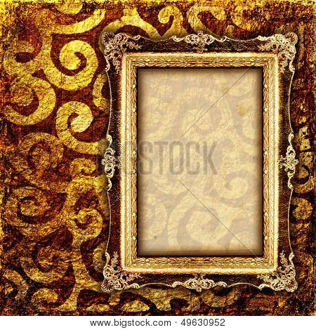 vintage cooper background with empty frame