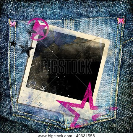 trendy denim background with instant frame