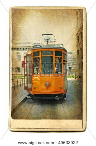 european places - vintage cards - trams in Milan