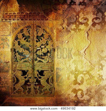 ancient background with old door