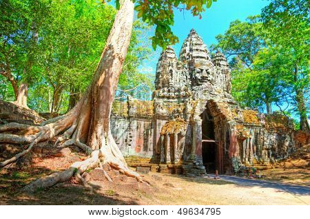 ancient Angkor gates in Cambodia