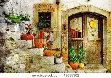pretty village greek style - artwork in retro style