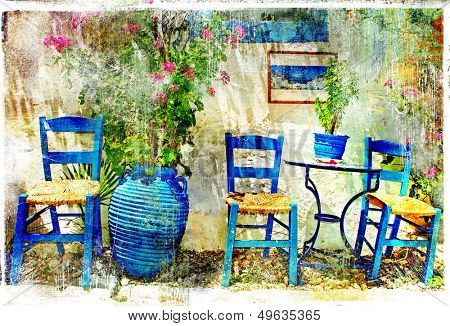 pictorial details of Greece - old chairs in taverna- retro styled picture