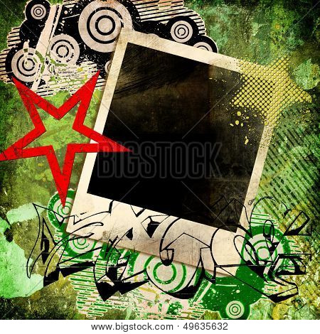 grunge trendy background with instant frame and graffiti  elements