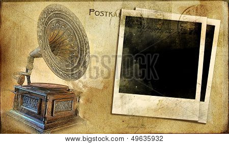 vintage postal card with gramophone and instant frames