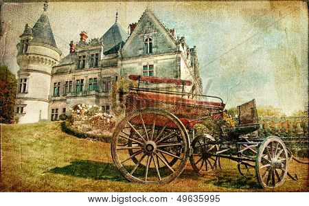 medieval castle with carriage - vintage picture