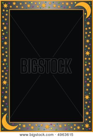 Grey Gradient Border And Colored Stars