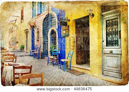 colors of sunny Greece - retro styled artistic picture
