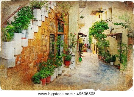 pictorial courtyards of old Greek islands - Crete, Chania