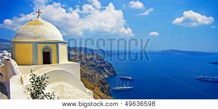 beautiful Santorini - caldera view with small church