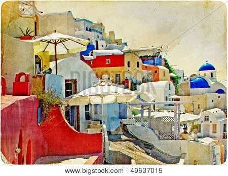 colorful Santorini - retro styled picture