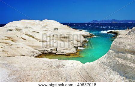 Sarakiniko beach in beautiful island of Milos, Greece