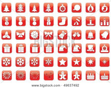 Set Of Red Christmas Icons