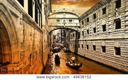 amazing Venice on sunset. bridge of sights