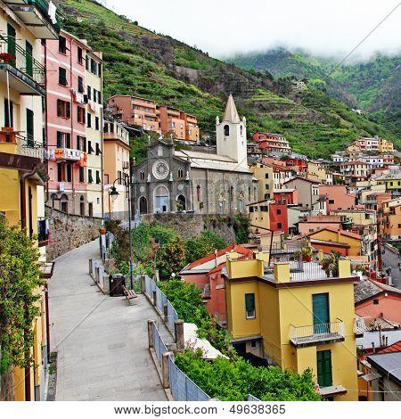 Riomaggiore - beautiful mountain village, Cinque terre , italy