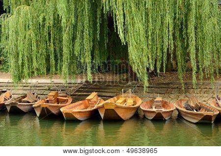 Boats In The Old Town Of Tuebingen, Germany